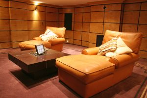 Basement Cinema seating, control panel